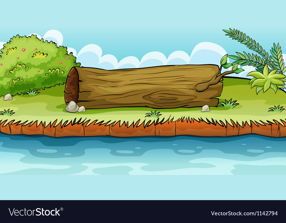A big trunk beside the pond vector | Price: 1 Credit (USD $1)