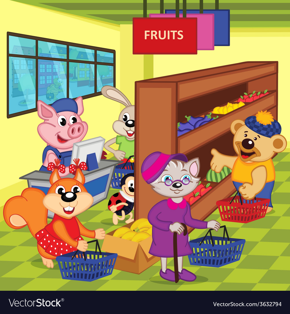 Animals in supermarket vector | Price: 3 Credit (USD $3)