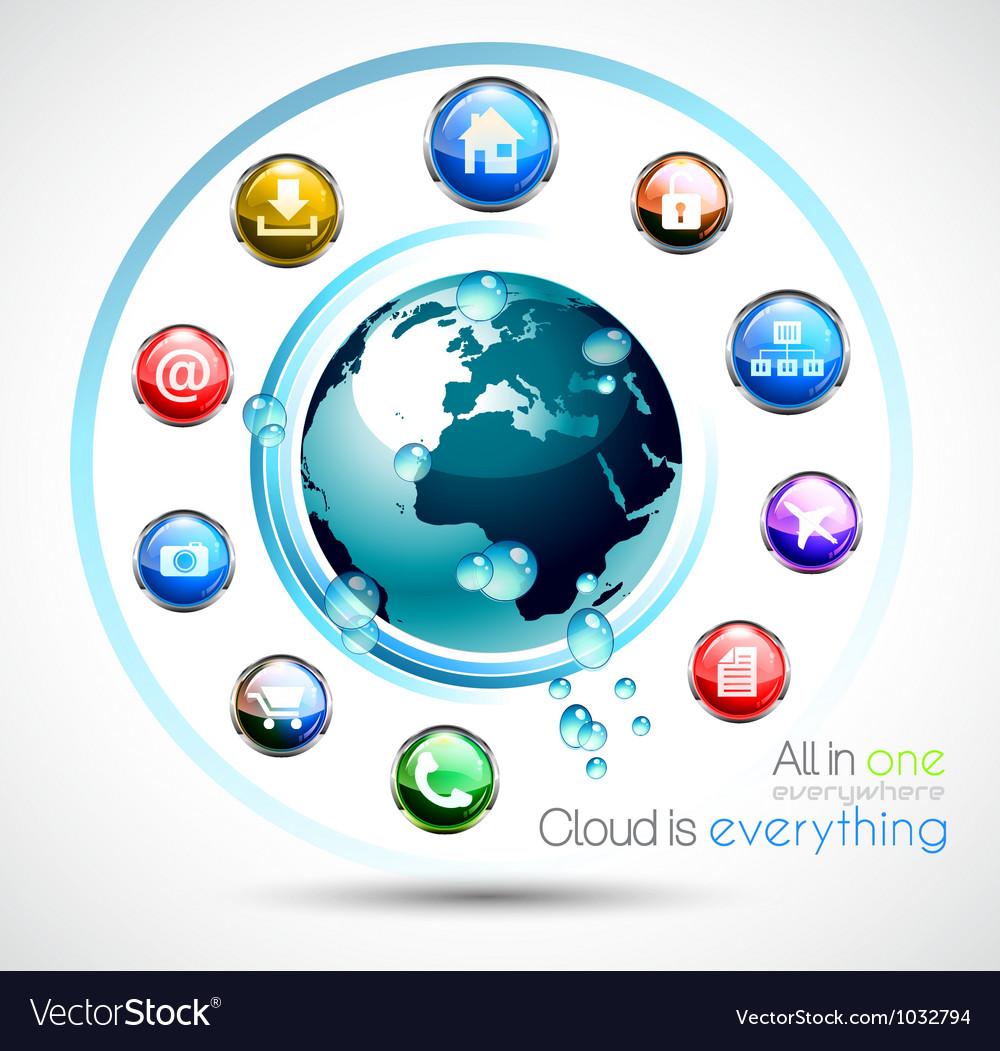 Cloud computing background vector | Price: 1 Credit (USD $1)