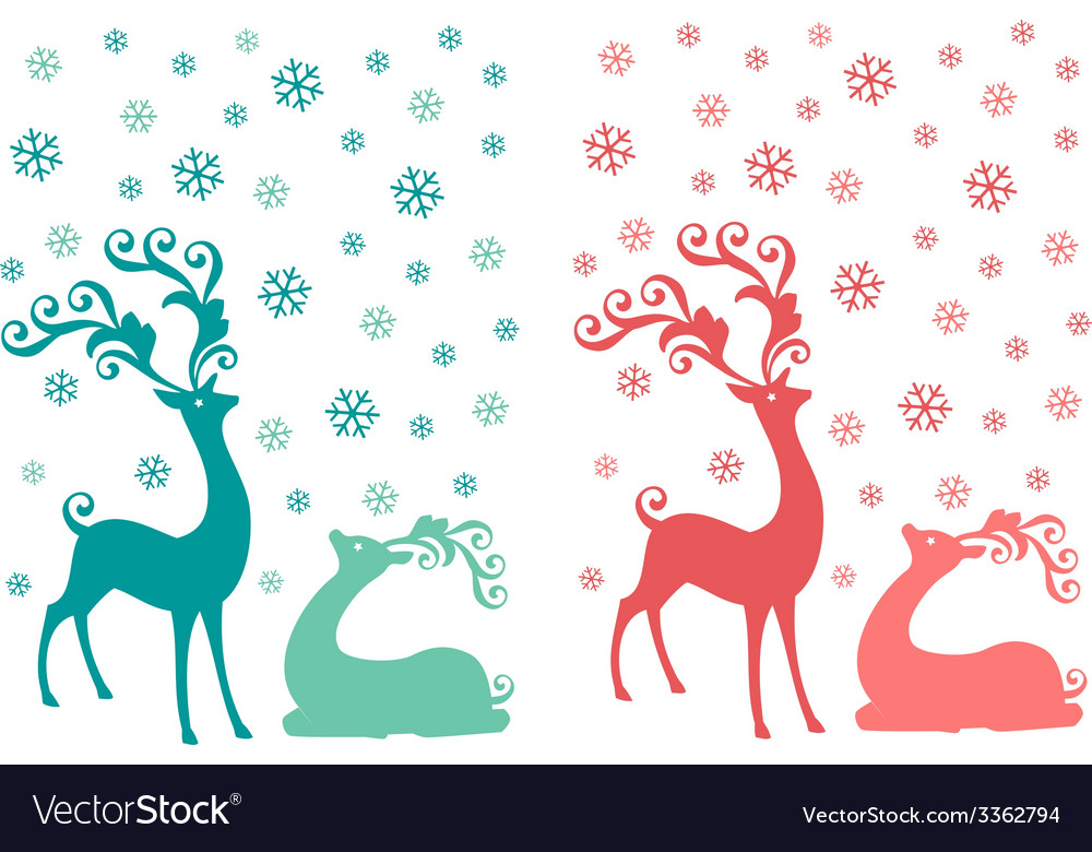 Cute christmas deer couple vector | Price: 1 Credit (USD $1)