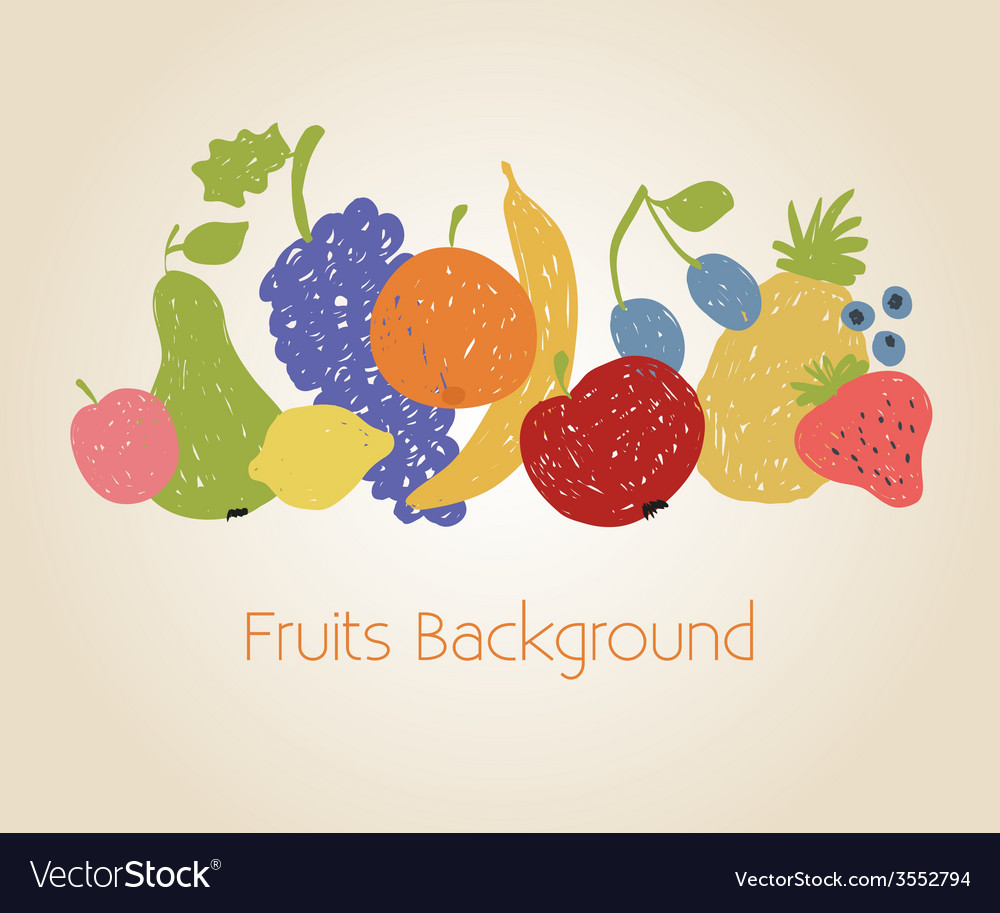 Doodle fruits background vector   Price: 1 Credit (USD $1)
