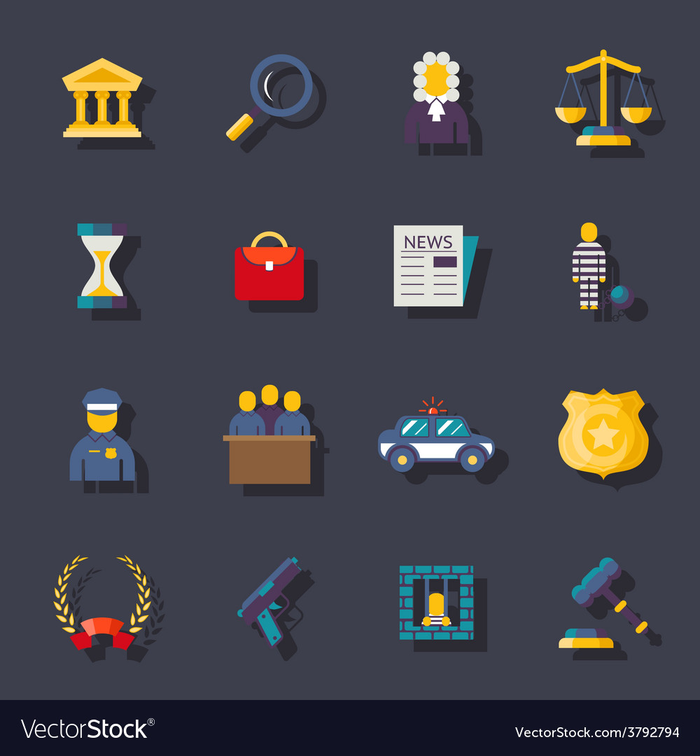 Flat law icons set vector | Price: 1 Credit (USD $1)