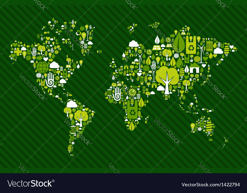 Globe world map with green icons vector | Price: 1 Credit (USD $1)