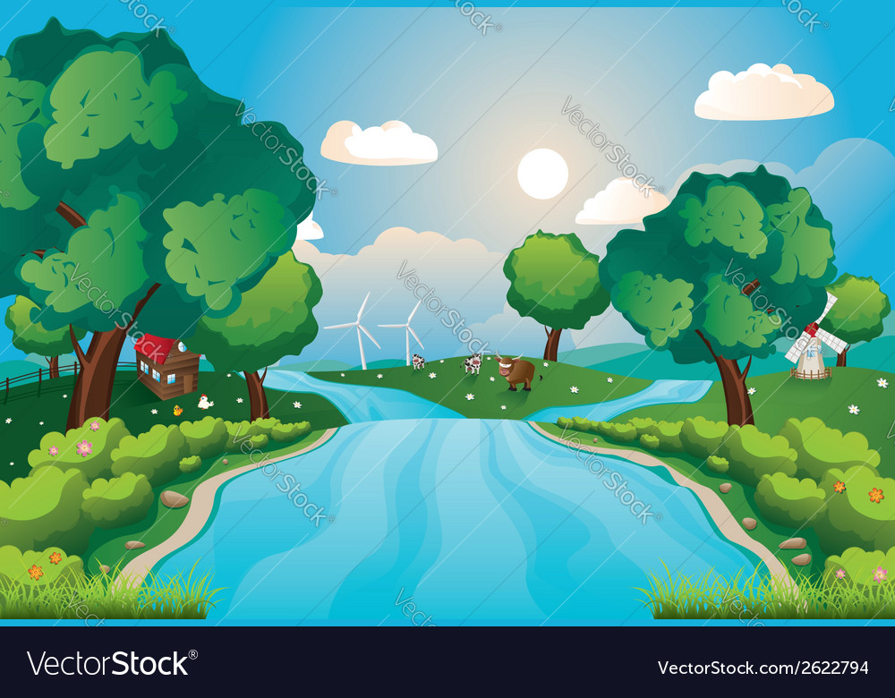 Hills and river2 vector | Price: 3 Credit (USD $3)