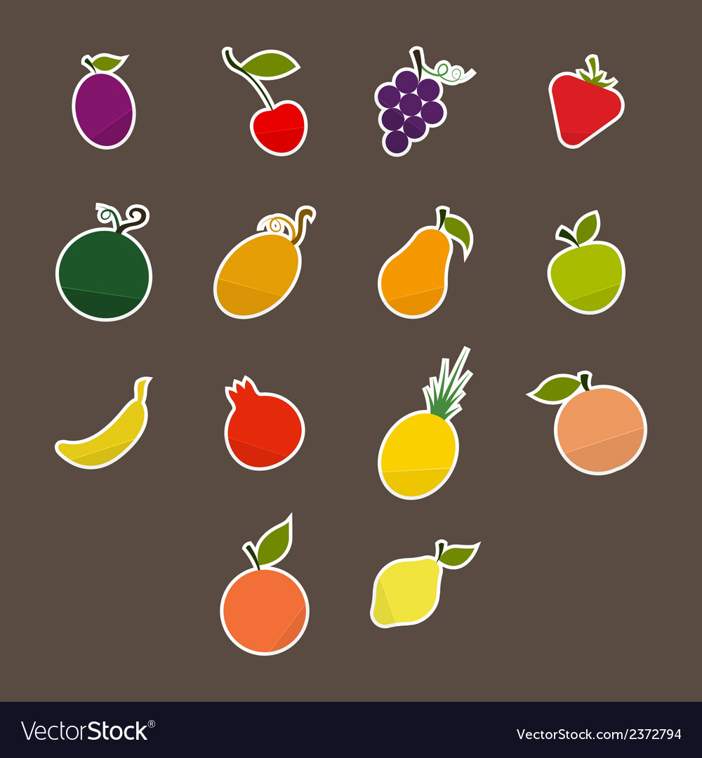 Silhouettes of fruit stickers vector | Price: 1 Credit (USD $1)
