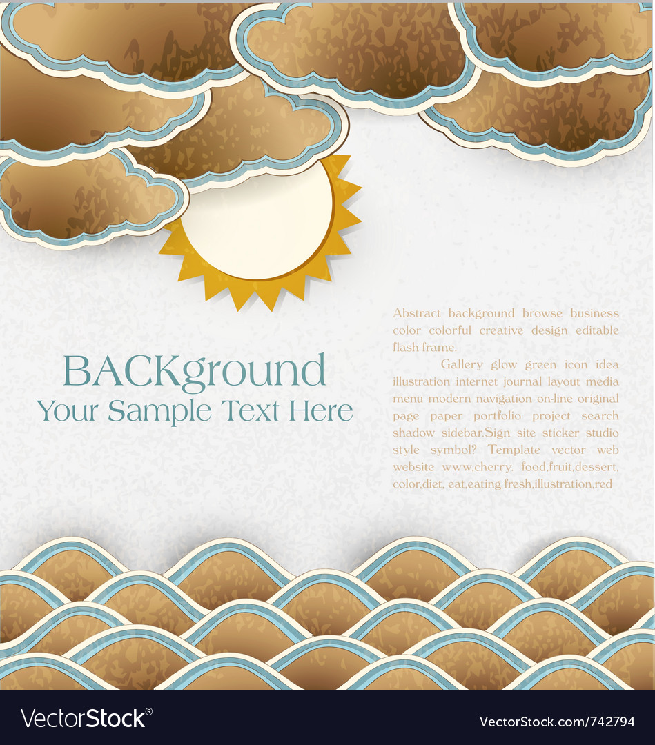 Vintage background with sea clouds and sun on card vector | Price: 1 Credit (USD $1)