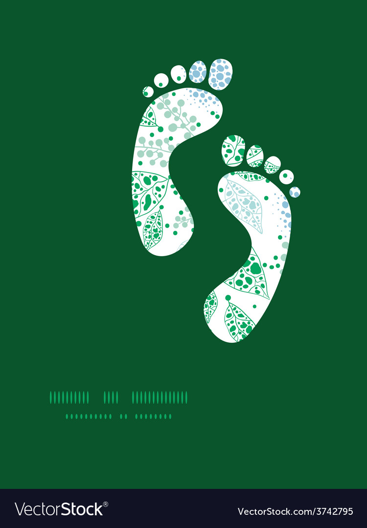 Abstract blue and green leaves footprints vector | Price: 1 Credit (USD $1)