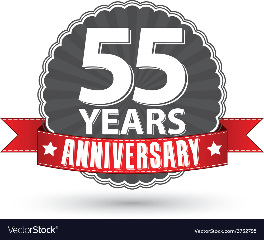Celebrating 55 years anniversary retro label with vector   Price: 1 Credit (USD $1)