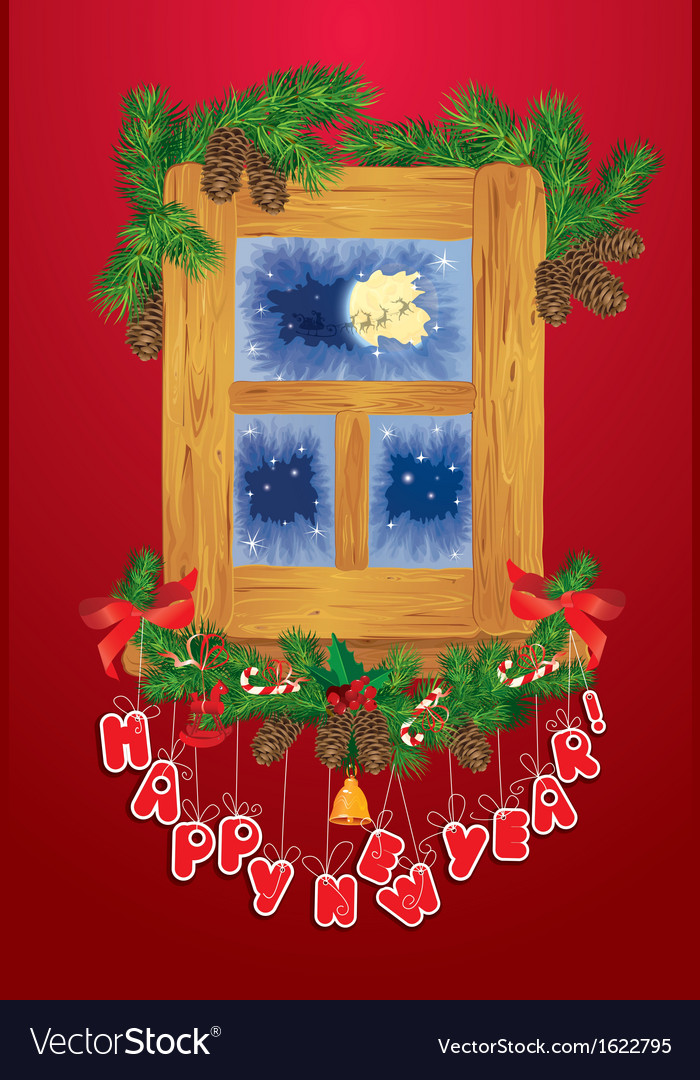 Christmas and new year card with flying reindeers vector   Price: 3 Credit (USD $3)
