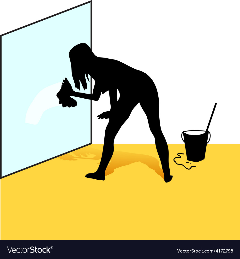 Cleaning woman silhouette vector | Price: 1 Credit (USD $1)