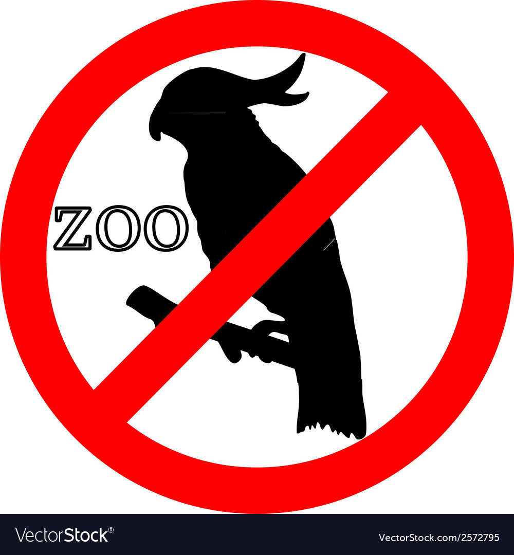 Cockatoo in zoo prohibited vector | Price: 1 Credit (USD $1)