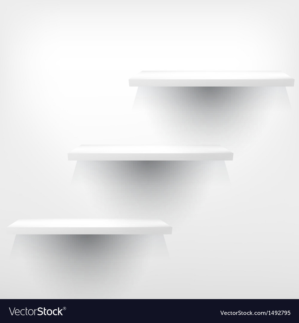 Empty white shelf hanging on a wall vector   Price: 1 Credit (USD $1)