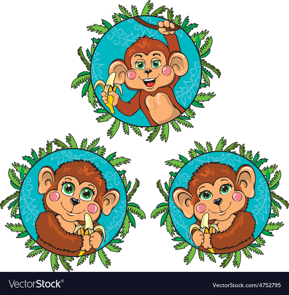 Funny monkey with a banana in his hand set vector   Price: 1 Credit (USD $1)