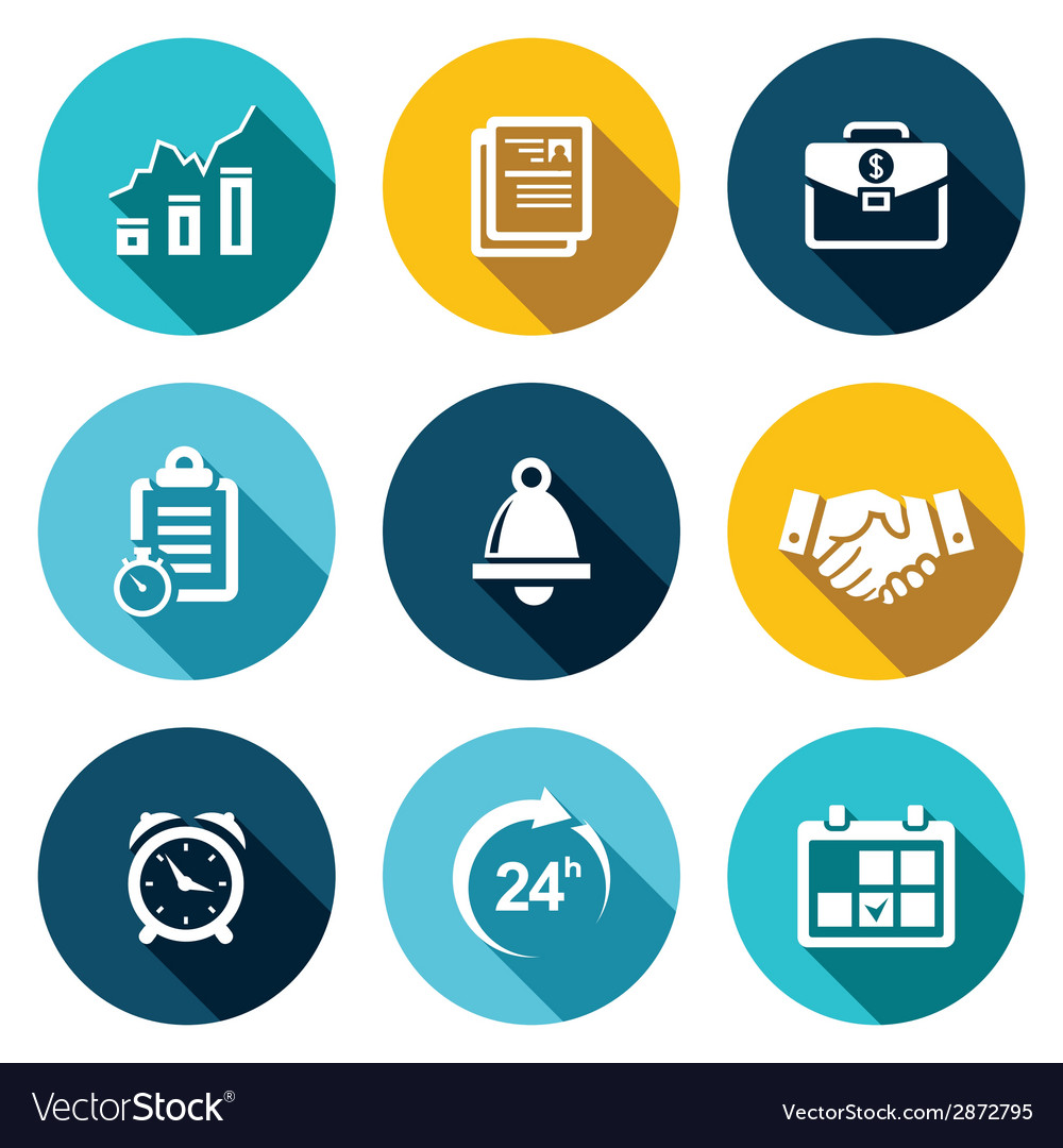 Office business flat icons set vector | Price: 1 Credit (USD $1)