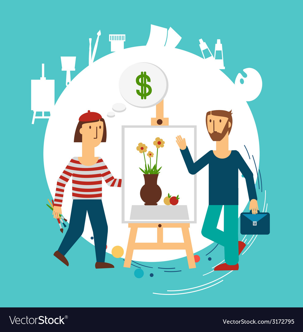 Painter painting for sale vector   Price: 1 Credit (USD $1)