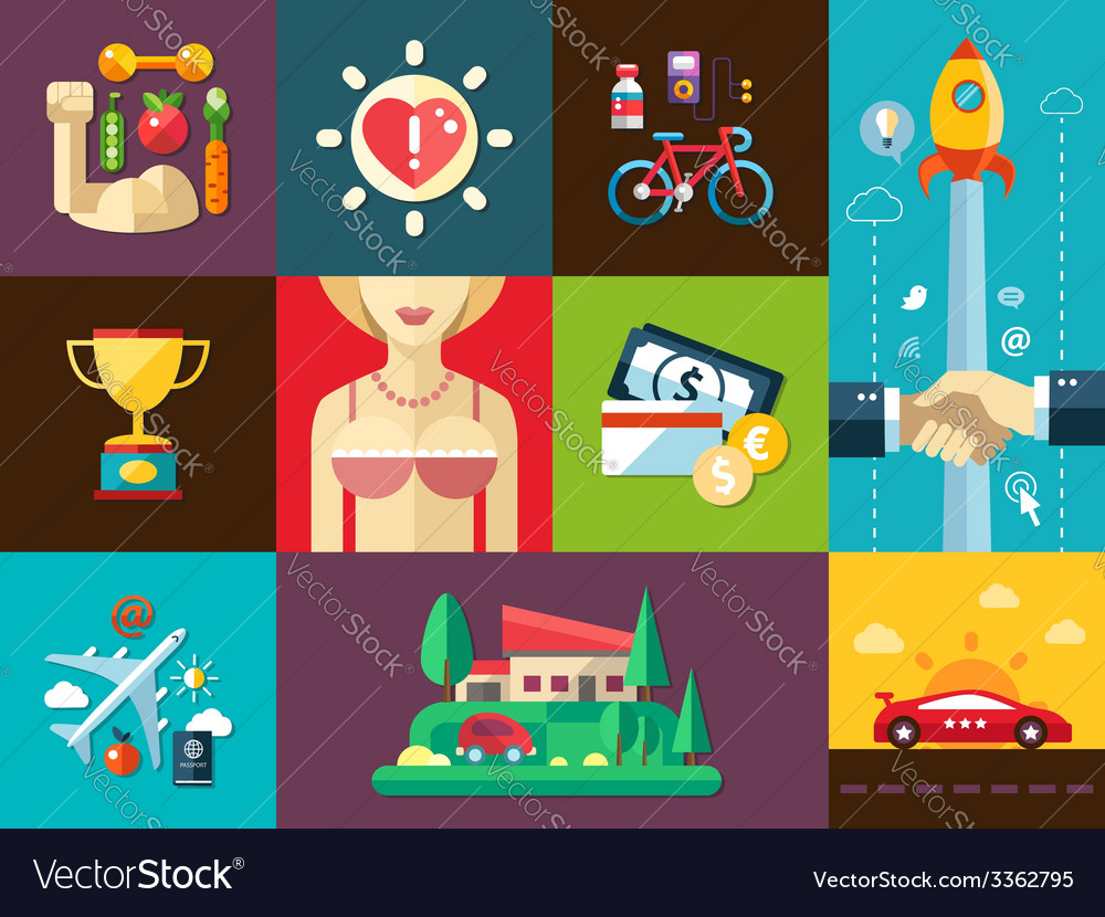 Set of modern flat design mens good things icons vector | Price: 1 Credit (USD $1)