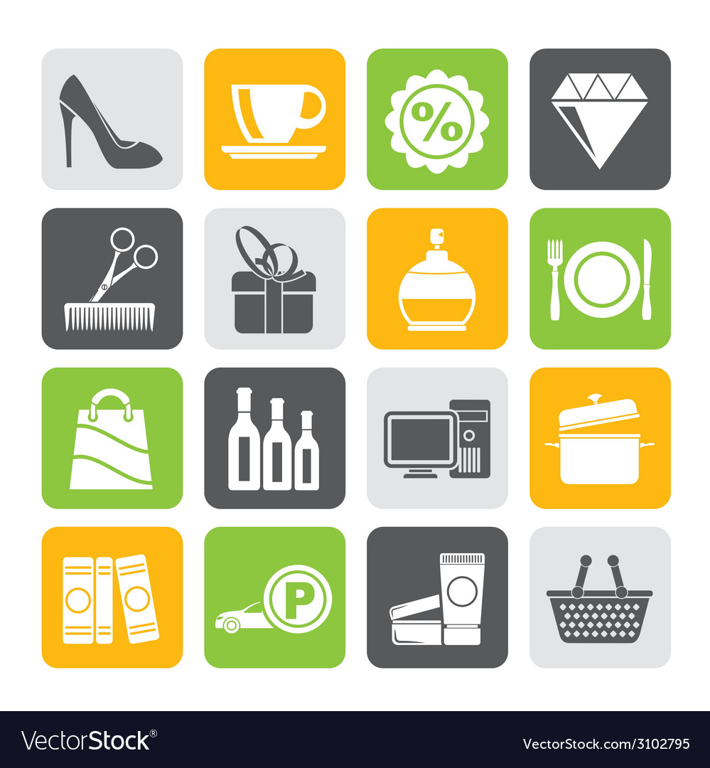 Silhouette shopping and mall icons vector | Price: 1 Credit (USD $1)