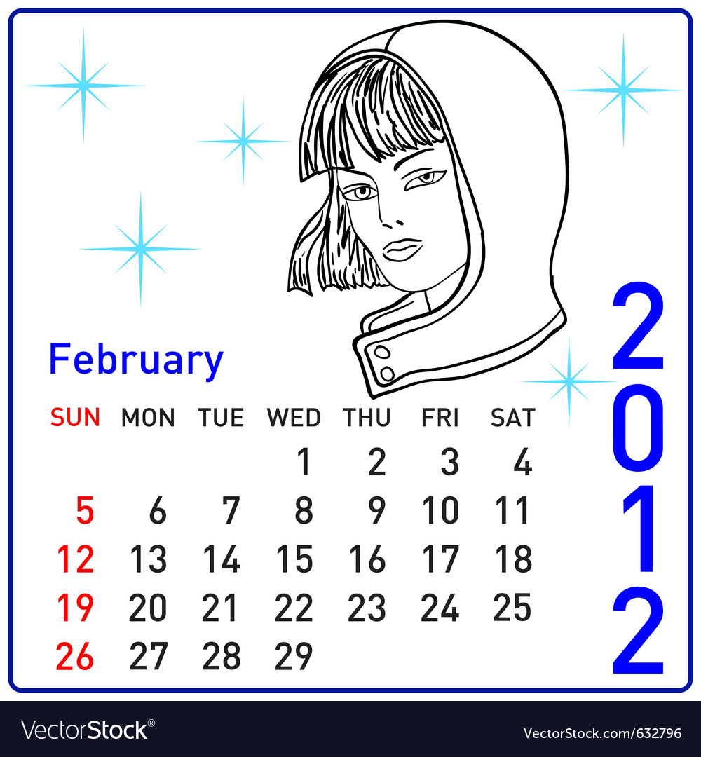 2012 year calendar in february vector | Price: 1 Credit (USD $1)