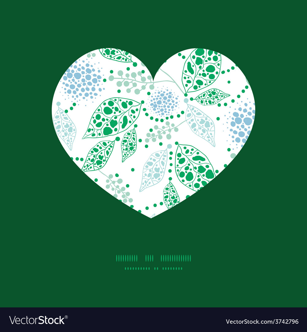 Abstract blue and green leaves heart vector | Price: 1 Credit (USD $1)