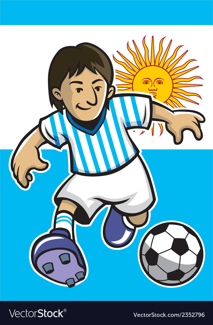 Argentina soccer player with flag background vector | Price: 1 Credit (USD $1)