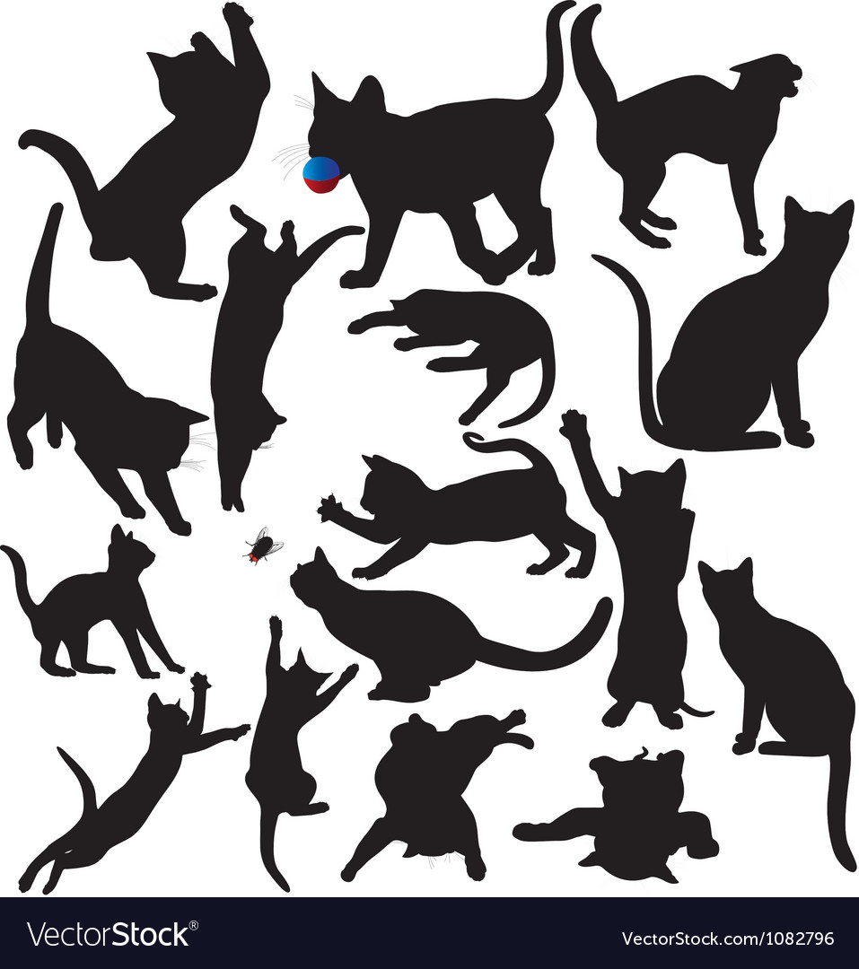 Cat and kitten silhouettes vector | Price: 1 Credit (USD $1)