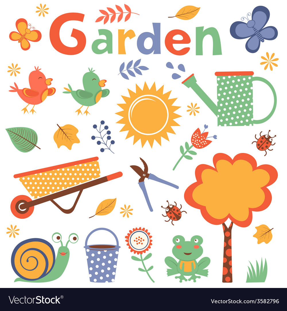 Colorful garden vector | Price: 1 Credit (USD $1)