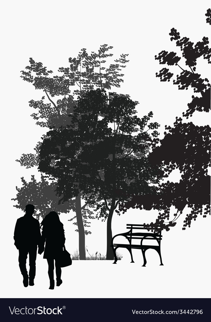 Couple walking in the park vector   Price: 1 Credit (USD $1)
