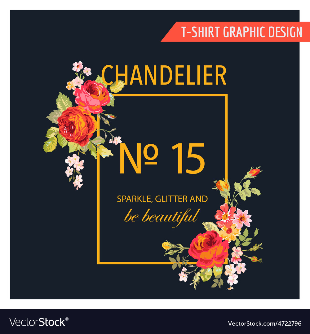 Floral graphic design - for t-shirt fashion prints vector | Price: 1 Credit (USD $1)