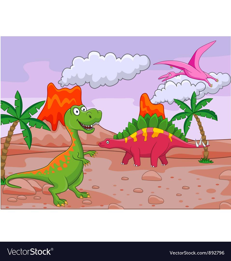 Group dinosaur cartoon vector | Price: 1 Credit (USD $1)