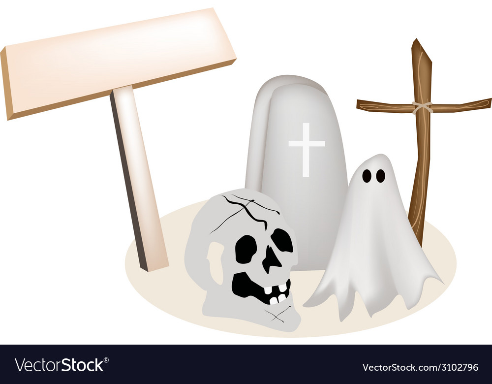 Halloween items with wooden placard vector | Price: 1 Credit (USD $1)