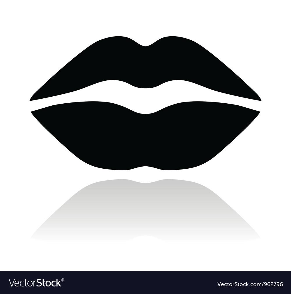 Lips black glossy icon vector | Price: 1 Credit (USD $1)