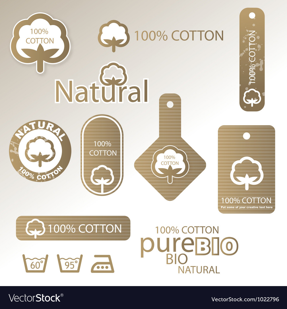 Natural cotton labels vector | Price: 1 Credit (USD $1)