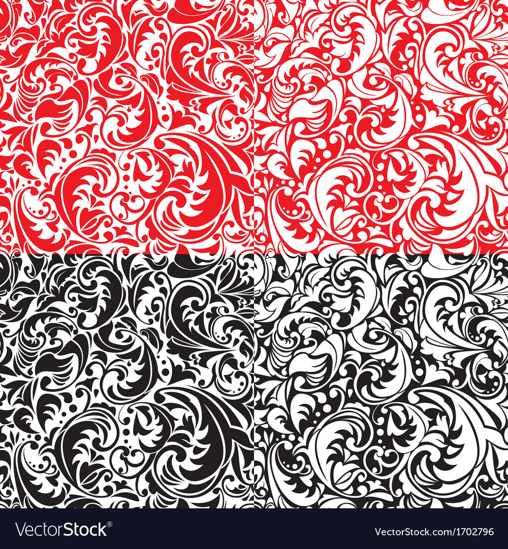 Set of swirl ornamental seamless patterns vector | Price: 1 Credit (USD $1)