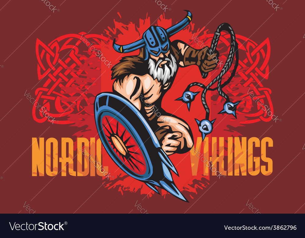 Viking norseman mascot cartoon with bludgeon and vector | Price: 3 Credit (USD $3)