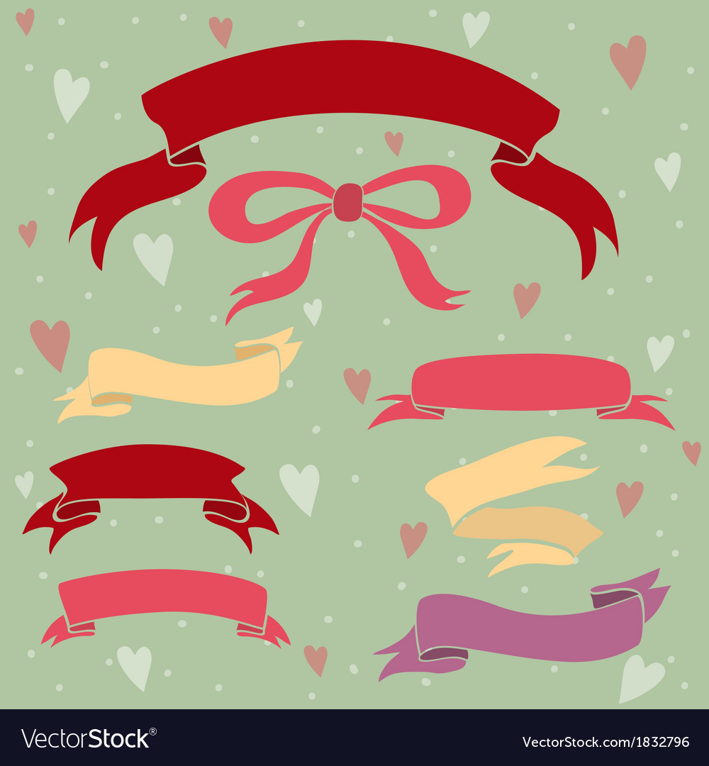 Wedding ribbons set hearts and bow vector | Price: 1 Credit (USD $1)