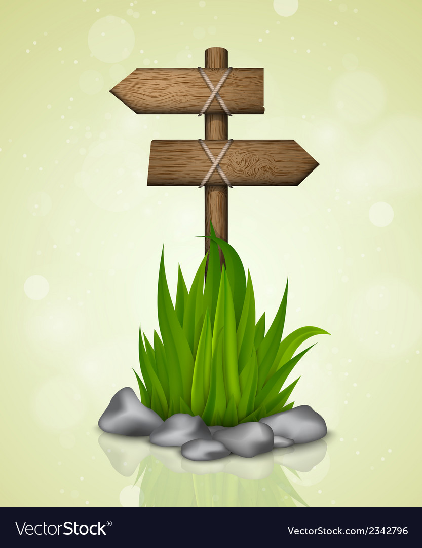 Wooden signs with grass vector | Price: 1 Credit (USD $1)