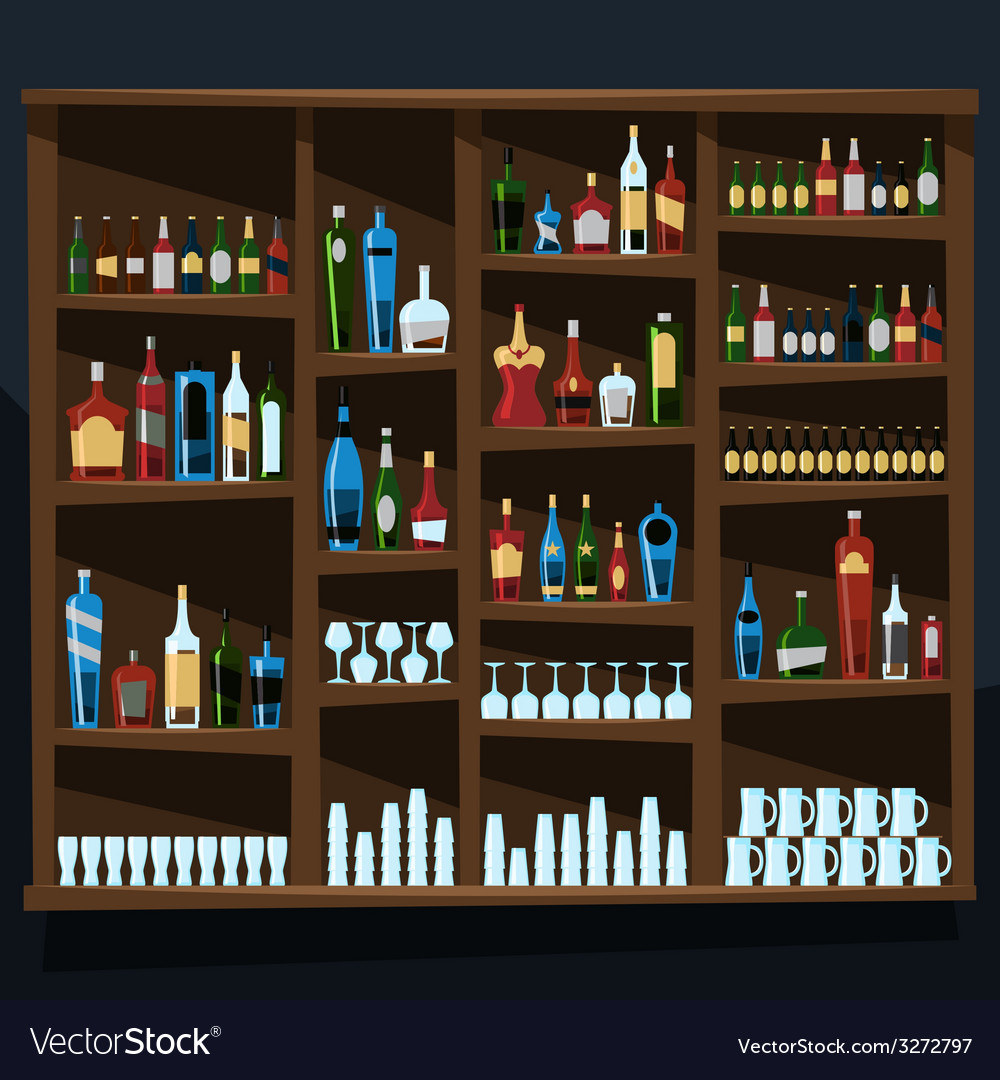 Alcohol shelf background full of bottles vector | Price: 3 Credit (USD $3)