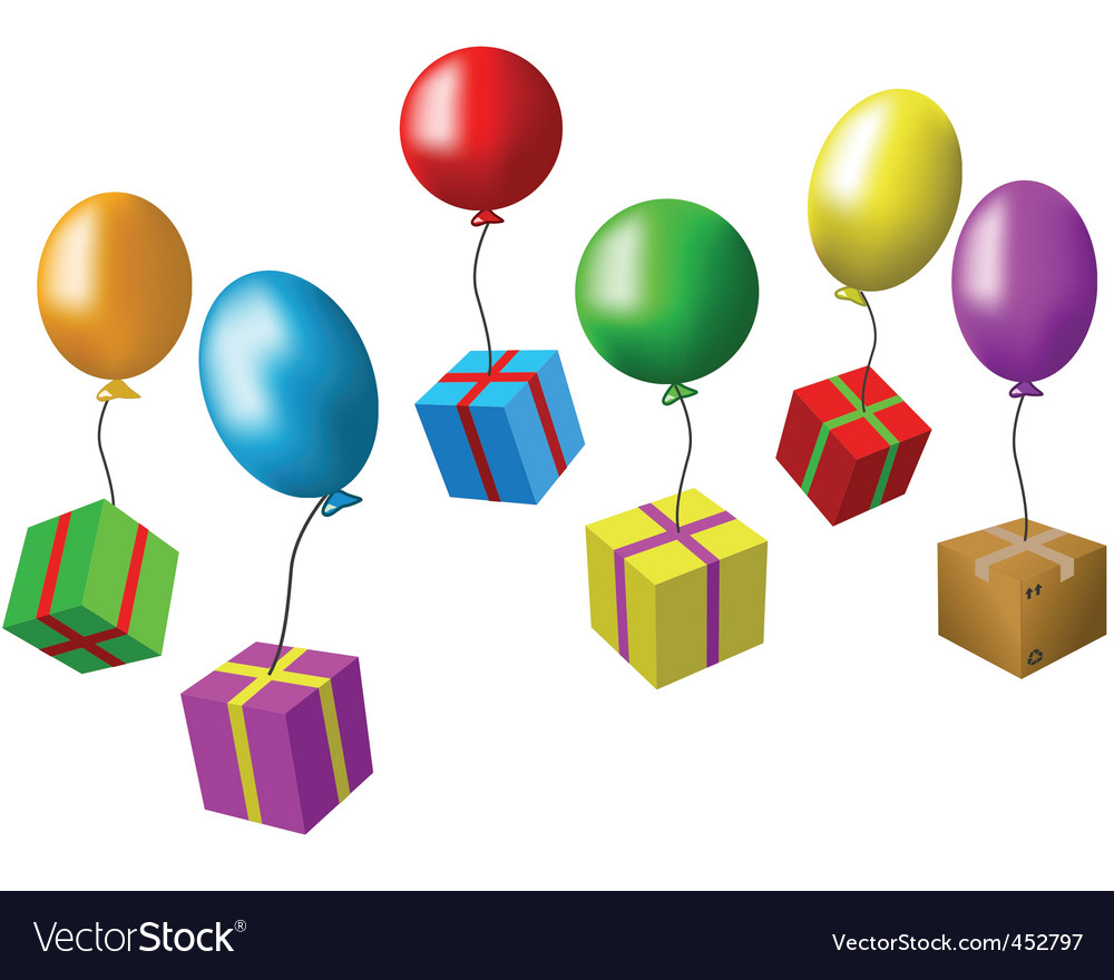 Balloons and presents vector | Price: 1 Credit (USD $1)