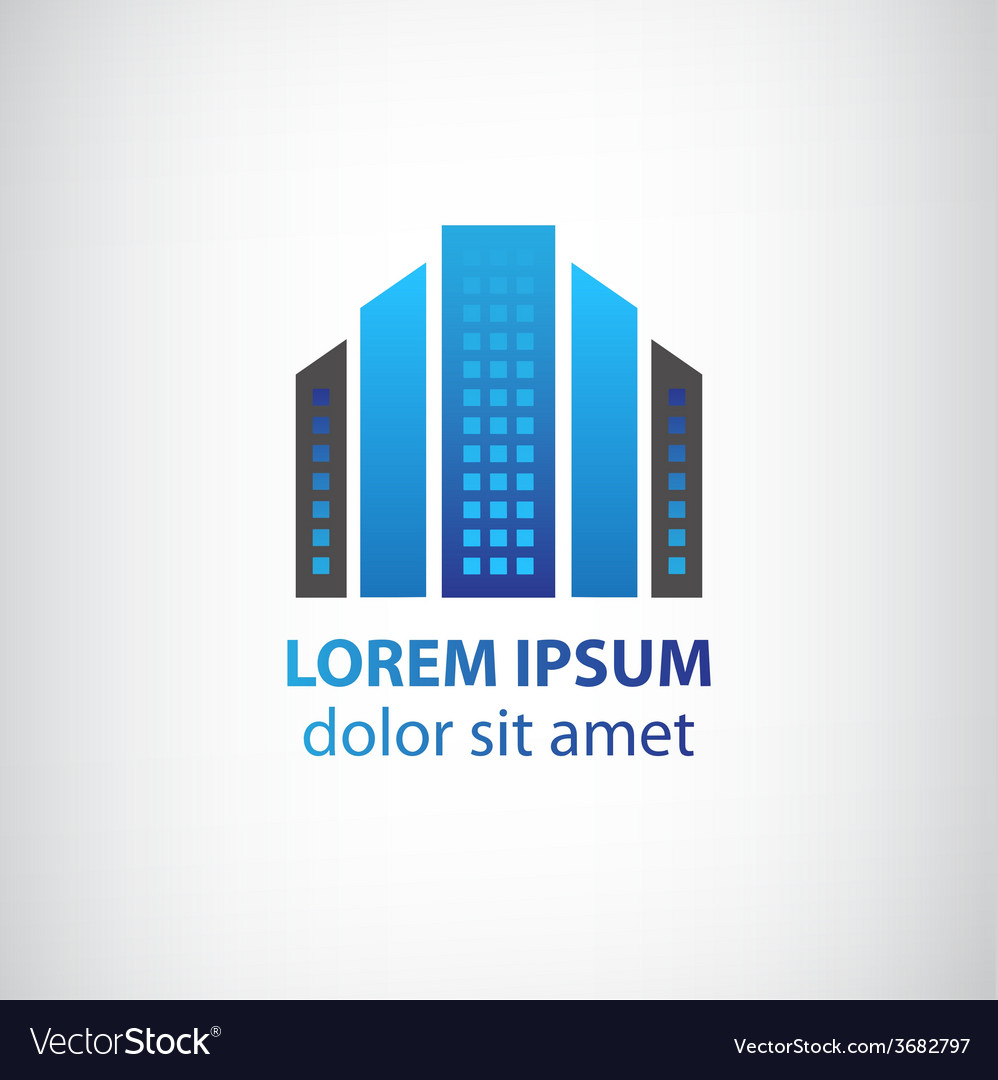 Blue vertical abstract office building logo vector | Price: 1 Credit (USD $1)
