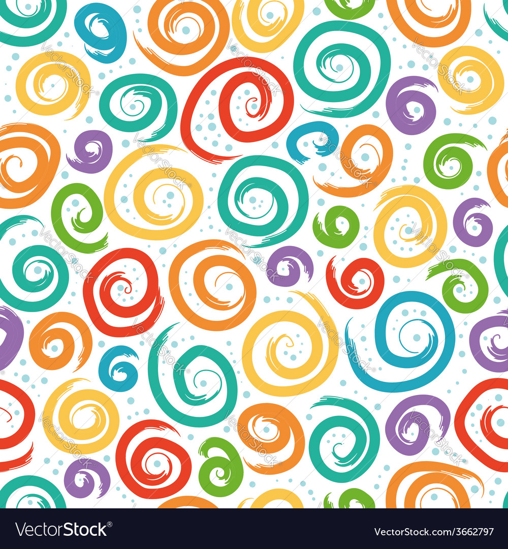 Colorful seamless pattern with swirls vector | Price: 1 Credit (USD $1)