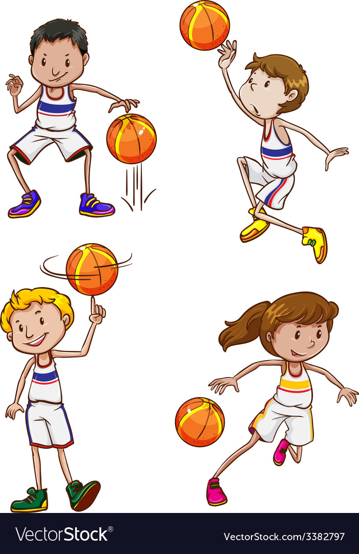 Energetic basketball players vector | Price: 1 Credit (USD $1)