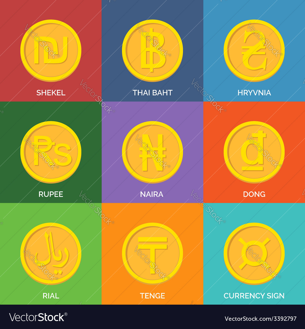 Flat golden coins currency icons vector | Price: 1 Credit (USD $1)