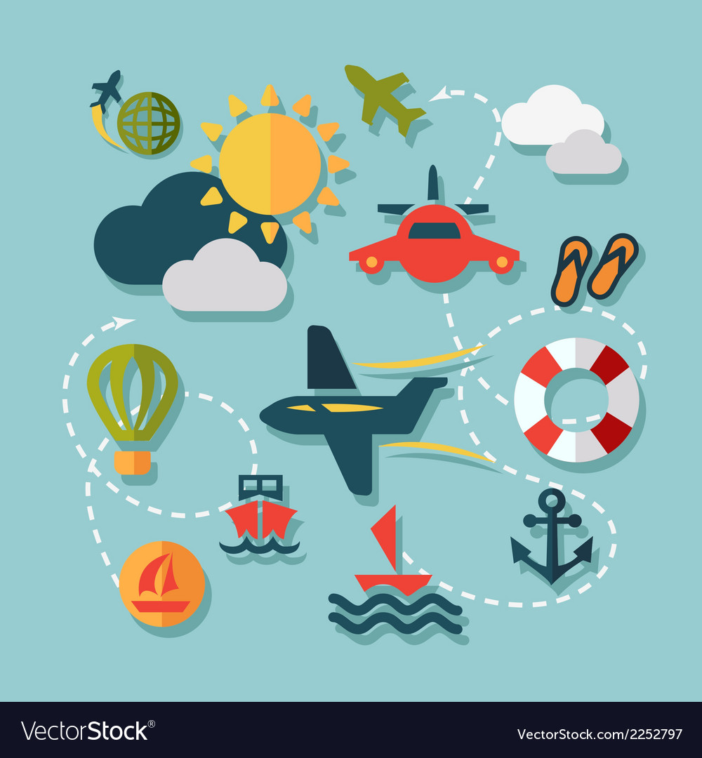 Flat summer vacation icons vector   Price: 1 Credit (USD $1)