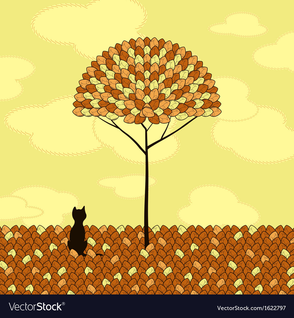 Lonely cat tree autumn vector | Price: 1 Credit (USD $1)