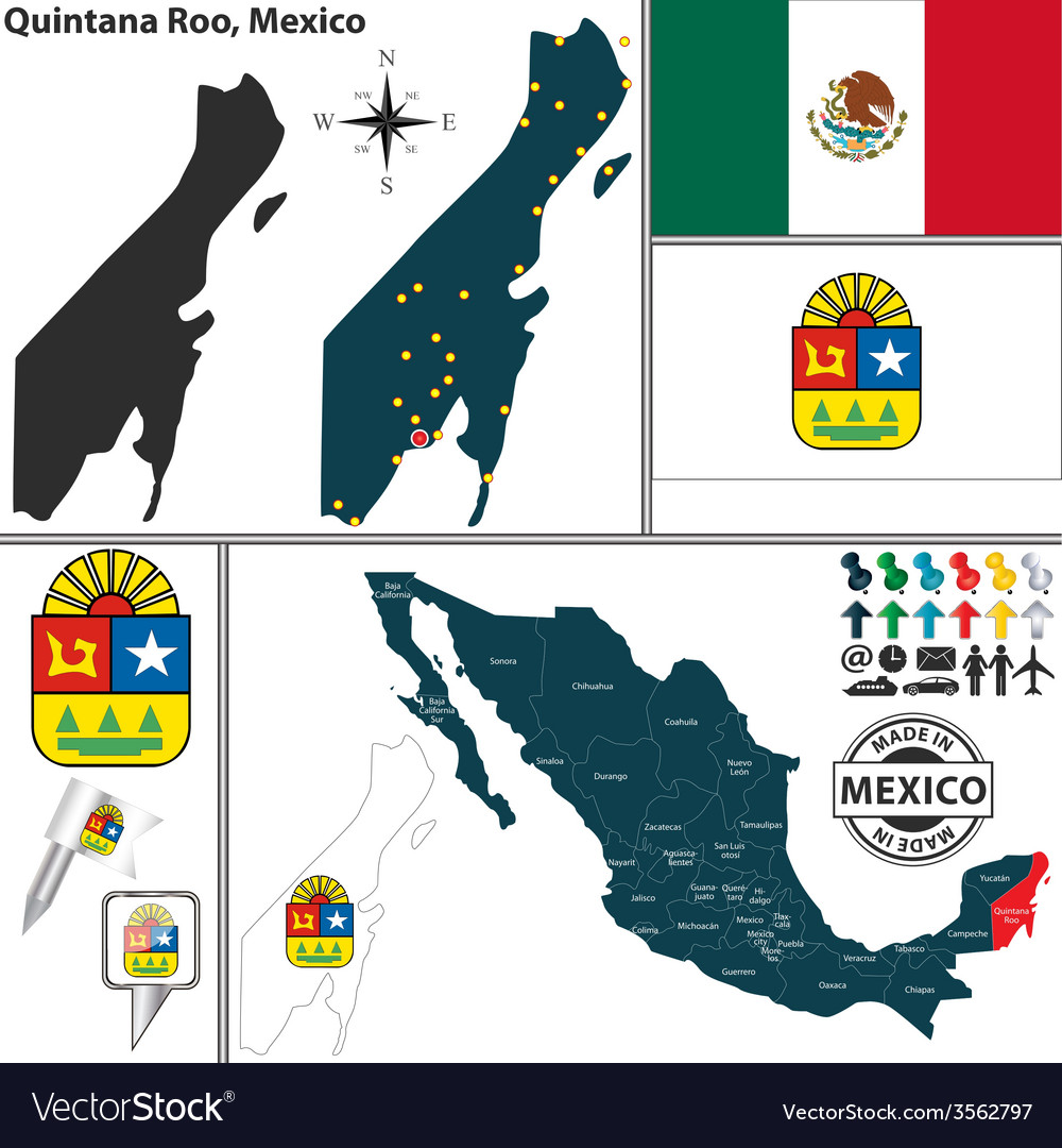 Map of quintana roo vector   Price: 1 Credit (USD $1)