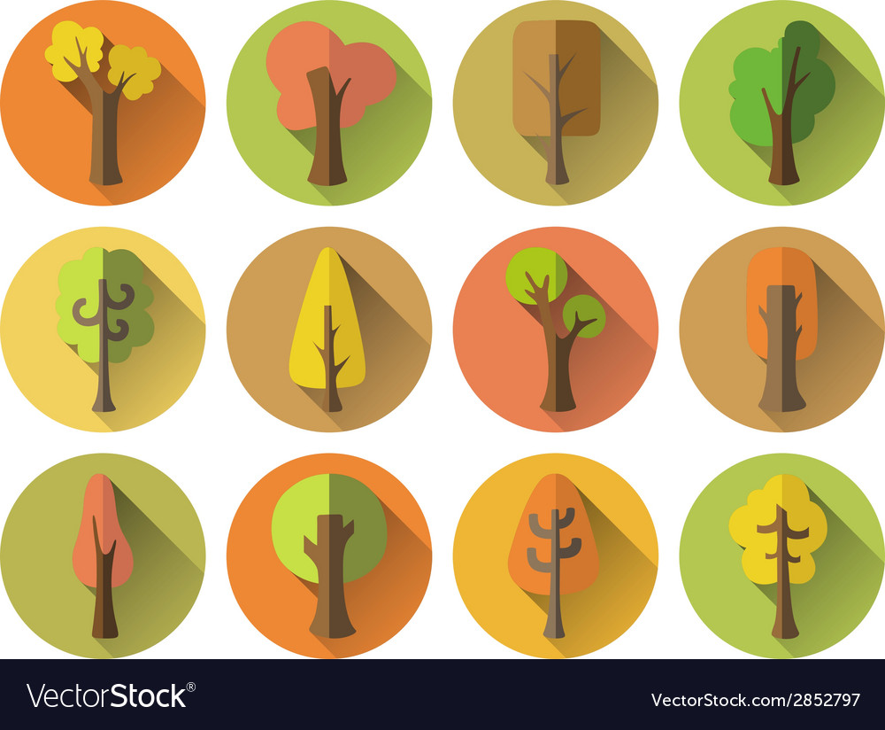 Set of 12 autumn round icons with long flat shadow vector | Price: 1 Credit (USD $1)