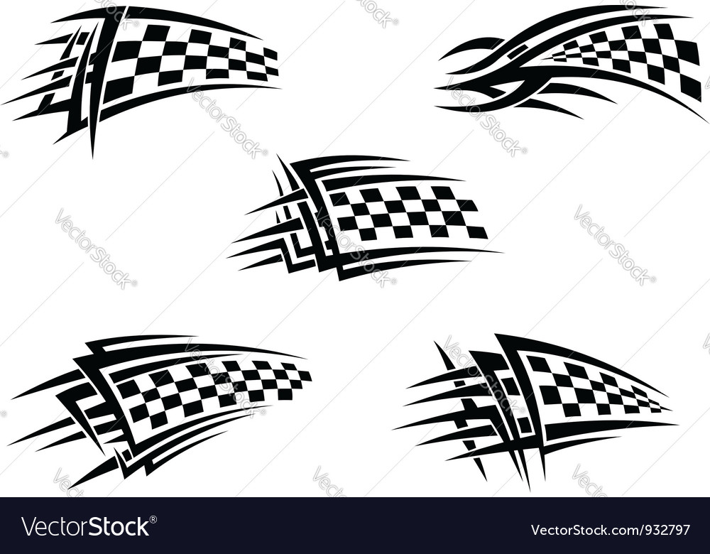 Set of checker racing flags vector | Price: 1 Credit (USD $1)