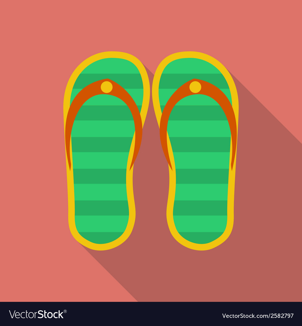 Slippers icon modern flat style with a long shadow vector | Price: 1 Credit (USD $1)