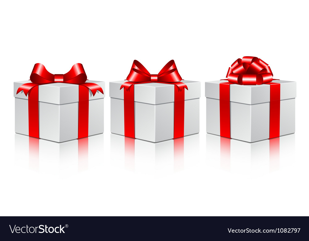 Three white gift boxes with a red bows vector | Price: 1 Credit (USD $1)