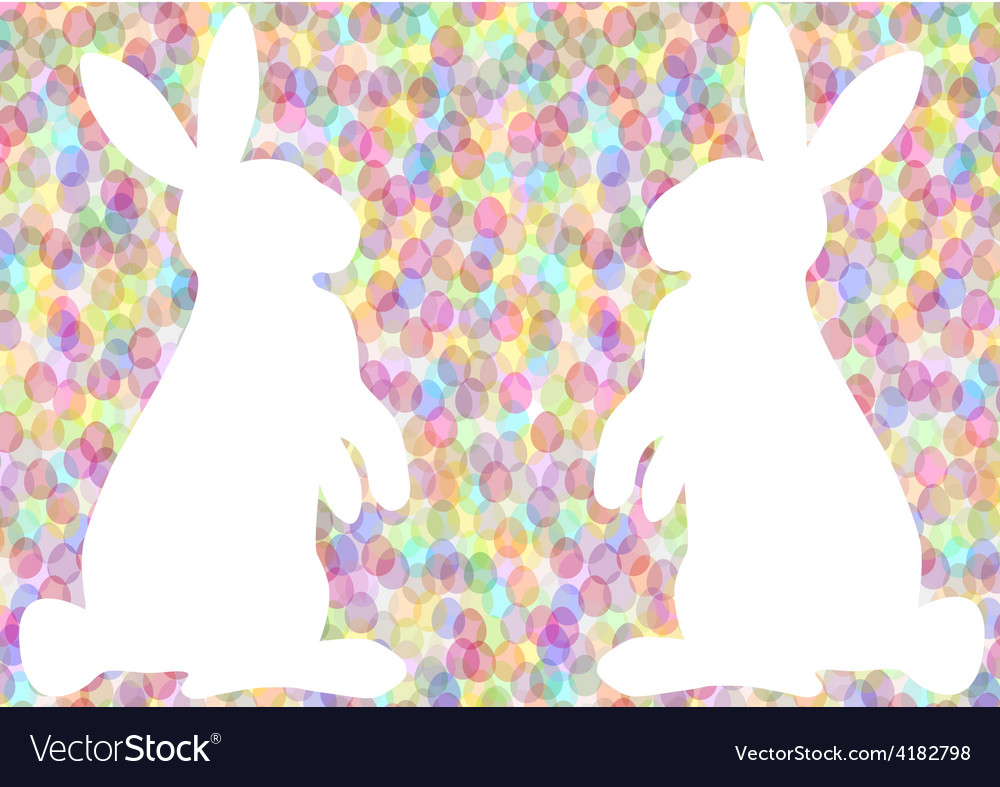 Colorful easter background with rabbits vector   Price: 1 Credit (USD $1)